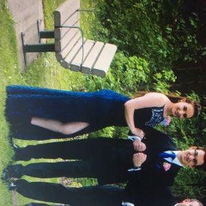 Navy blue Sequin prom dress